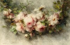 laclefdescoeurs: Swag of Pink Roses Margaretha Roosenboom Antique Roses, Vintage Flowers, Art Folder, Coming Up Roses, Rose Art, Beautiful Paintings, Rose Paintings, Floral Paintings, Painting Flowers