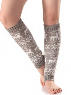 Christmas Fawn Snowflake Knitted Leg Warmers - LIGHT GRAY