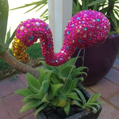 Rhinestone flamingo by Mosaic Menagerie