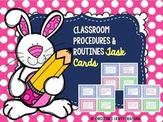 *56 classroom management task cards for students to use to practice the routines in the classroom. *These task cards can be used in small group, whole group, or as a review activity throughout the year.