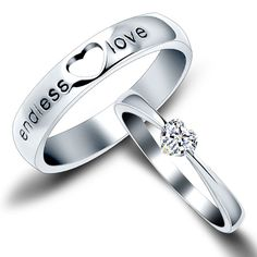 """New Fashion """"Endless Love"""" Heart Shape Unique 925 Sterling Silver Lover's Heart Couple Rings (Price For a Pair)"""