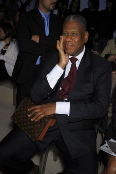 André Leon Talley of Vogue, Alberta Ferretti Spring 2009 Ready-to-Wear Front Row Celebrity Photos - Vogue