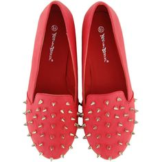 Red Spike Studded Loafers Flat ❤ liked on Polyvore