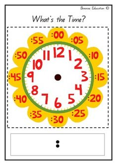 Flower Clock Template by Brainiac Education Learning Games For Kids, Math For Kids, Kids Math Worksheets, Preschool Activities, Weather For Kids, Preschool Charts, Clock Template, Learn To Tell Time, French Kids