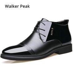 De vestido de negocios para hombre Formal de la boda zapatos de punta de  cuero de la PU de moda de invierno zapatos planos Zapatos de Oxford para  hombres ... 2284d7b59434