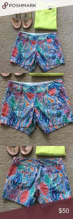"""Lilly Pulitzer Callahan Shorts Lilly Pulitzer Callahan Shorts. Super cute, super fun sea coral print. Pockets, belt loops. Front zip and button closure. Laying flat waist approx 14.5"""" across. 5"""" inseam. Size 0. Excellent condition. #1054 Lilly Pulitzer Shorts"""