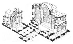 LATE BYZANTINE ARCHITECTURE - Isometric section drawing of Katholikon Hosios Lukas, Greece. The Katholikon is the earliest extant domed-octagon church, with eight piers arranged around the perimeter of the naos (nave). The hemispherical dome (without a drum) rests upon four squinches which make a transition from the octagonal base under the dome to the square defined by the walls below. The main cube of the church is surrounded by galleries and chapels on all four sides.
