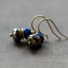 Ancient Giza Earrings Lapis Lazuli Pyrite Fool's Gold Deep Blue Gemstone Stack Handmade Jewelry