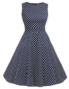 c358c497e94 Amazon.com  ACEVOG Vintage 1950 s Floral Spring Garden Party Picnic Dress  Party Cocktail Dress  Clothing. ACEVOG Womens Slim Fit Polka Dot ...