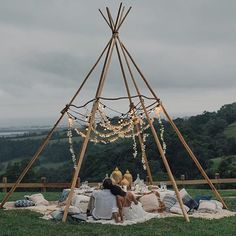How AMAZING is this fairy light teepee!?!  @lucasandcophotography #teepee #lovers #wedding #love #life #lights #blooms #boho