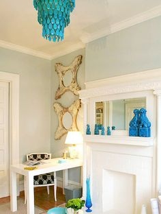 Guest Blogger: Leslie from A Blonde Ambition | Brunch at Saks West Elm, White Parsons Desk, Turquoise Chandelier, Blue Office, Small Office, Light Blue Walls, Enchanted Home, Design Firms, Decoration