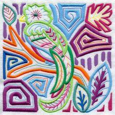 Mola Art Quetzal Machine Embroidered Quilt Block Usaemb   eBay