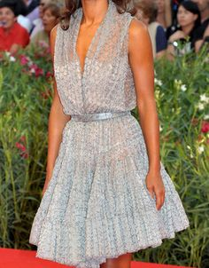 Beautiful Azzedine Alaia dress with sheer overlay.
