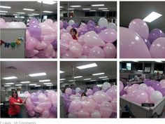 (I got to see this in person at work today and it was great! Decorated Kimberly's desk at work for her birthday. Thanks to my coworkers for the help blowing up the balloons! Birthday Pranks, Office Birthday, Birthday Ideas, Happy Birthday Coworker, Party Ideas, Gift Ideas, Work Today, Have A Laugh, The Balloon