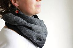 Unisex Loop Scarf, Wool Scarf, Felted Shawl, Infinity Scarf, Neck Warmer, Merino Wool and Silk Scarf, Gift for Him/Her, Autumn/Winter Wrap by EcoFeltStudio on Etsy Gifts For Him, Gifts For Women, Loop Scarf, Wet Felting, Neck Warmer, Black Wool, Wool Felt, Merino Wool, Shawl