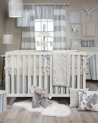 Luna Blue baby bedding set by Glenna Jean.  Soft blue, sand and taupe colors for your nursery.