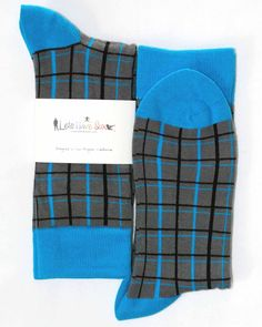 Grey Blue Plaid Pattern Mens Dress Sock - Lets Have Sox
