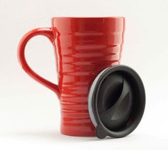 Ceramic travel mug with lid - red $20