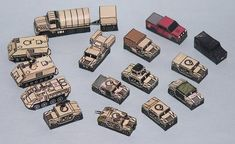 US Army And USMC Vehicles Set Paper Models In 1/250 Scale - by PR Models - == -  This cool set of military vehicles in 1/250 scale came from Czech website PR Models. Perfect for Dioramas, RPG and Wargames.