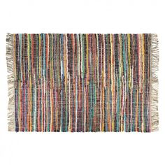 ROXY Medium multi-coloured striped chindi rug 140 x 200cm