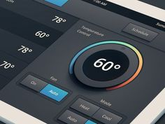 Heating/Air Conditioning UI found on Dribbble.