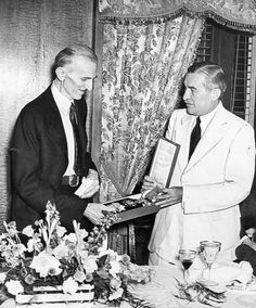"""July 11th, 1937: Mr. Hurban, presenting the Grand Cordon of the White Lion said """"Our Czechoslovak nation's brotherly feeling toward you as a son of Yugoslavia made it a duty, not a privilege, to give you this decoration in the name of the president of our nation, Dr. Eduard Benes."""" He also presented a diploma certifying Dr. Tesla's honorary degree as a doctor of the University of Prague."""