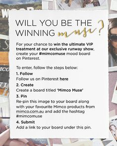 Will you be the winning muse? I sure hope so!  http://www.pinterest.com/bohogeek/mimco-muse/