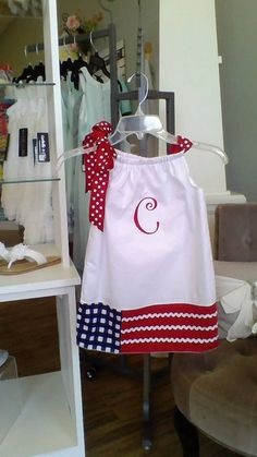 Patriotic flag dress, 4th of July outfit, pillowcase dress, monogram dress, baby dress, toddler, girl, Mudan 12m-6 matching brother sister on Etsy, $30.00