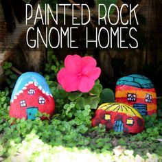 How cute are these? If you don't have a garden, you could put one of these painted rock gnome homes in a house plant.