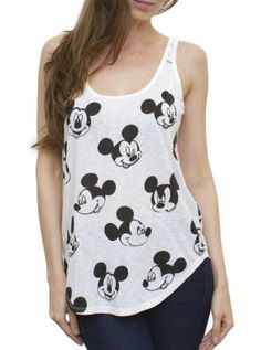 Mickey All Over Slub Tank - Women's Tops - All - Junk Food Clothing
