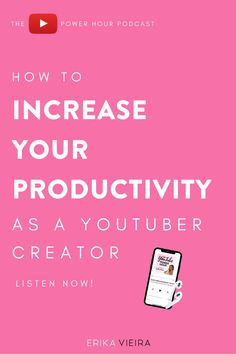 How to increase your productivity as a YouTube creator with Haley Burkhead. Erika Vieira, The YouTube Power Hour Podcast #ErikaVieira #TheYouTubePowerHourPodcast Day Schedule, Productive Things To Do, Productivity Apps, Instagram Tips, You Youtube, Pinterest Marketing, Social Media Tips, Blog Tips, Erika
