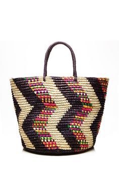 Valdez Multicolor Zig Zag Gaby Tote Bag by Valdez Panama Hats for Preorder on Moda Operandi