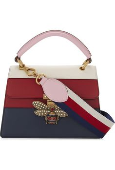b5cbc576533 GUCCI - Bee clasp striped leather shoulder bag