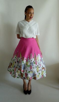 Fab Vintage 1950's Hot Pink New York City by FabFoundFrocks, $52.00
