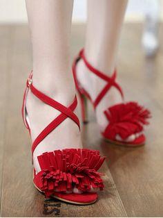Fringe Cross-Strap Stiletto Heel Sandals RED: Sandals | ZAFUL