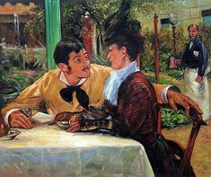"""Manet, """"In Pere Lathuille"""" placed 5th in overstockart.com Top 10 Most Romantic Oil Paintings for Valentine's Day 2015.  #art"""