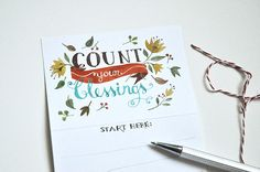Printable count your blessings Thanksgiving card