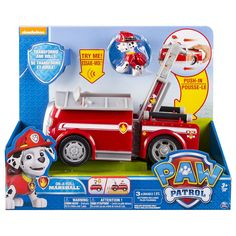 Marshall to the ruff-ruff rescue! Spring into action as Marshall turns his doghouse into a firetruck to save the day! This pup and vehicle combination is loaded with transforming action! With his extending fire ladder and real working wheels, Marshall can race to the rescue. Get fired up with Marshall as you listen to real sound effects and phrases straight from the Paw Patrol TV show! Learn all about adventure, bravery and teamwork as you rush to the ruff-ruff rescue. Together, your childs…