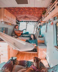 Hippie-Camper Camping life diy life diy how to build life diy ideas life diy interiors life diy projects Camper Hacks, Caravan Hacks, Caravan Decor, Van Interior, Camper Interior, Volkswagen Bus Interior, Interior Ideas, Van Life, Hippie Camper