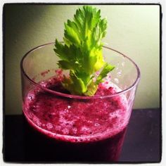 Blueberry Celery Smoothie with Coconut Water - I added fresh parsley and mint. Super Delicious!!!!!