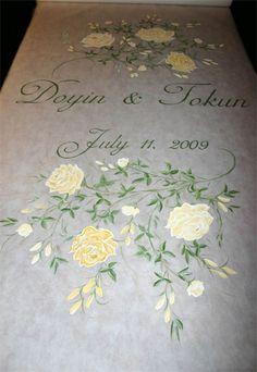 Hand painted wedding aisle runner Yellow roses