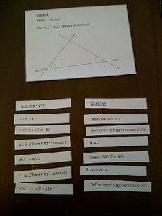This hands-on activity is great when teaching geometric proofs.  It serves as a great resource to help students get used to the format of a formal proof before they are asked to compose a proof on their own.