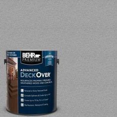 Cape Cod Gray Smooth Solid Color Exterior Wood and Concrete - The Home Depot BEHR Premium Advanced DeckOver 1 gal. Behr Deck Over Colors, Deck Colors, Grey Deck Paint, Tile Refinishing, Waterproof Paint, Concrete Coatings, Brown Texture, Concrete Wood, Weathered Wood