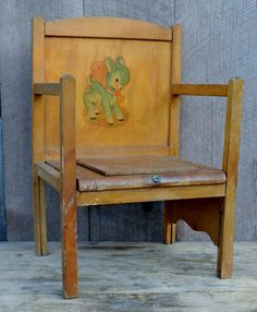 1950s Child's Potty Chair Wooden Bathroom Chair