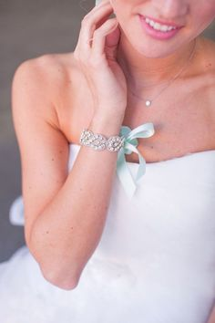 L prefers necklaces and earrings over bracelets but she would make an exception for this beautiful blue piece of jewellery. Bridal Bracelet, Cute Jewelry, Wedding Jewelry, Beaded Bracelets, Bridal Cuff, Wedding Bracelets, Fall Wedding Shoes, Bling Wedding, Chiffon Wedding Gowns