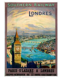 Vintage London Londres Southern Railway U.K. Travel ad Poster Mounted Canvas Vintage French Advertising Giclee Print by Vintagemasters on Etsy https://www.etsy.com/listing/178498276/vintage-london-londres-southern-railway