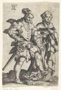 Anonymous | Dansend paar, Anonymous, 1552 - 1610 | Man met een baard, dansend hand in hand met een vrouw. Uit een serie van acht spiegelbeeldige kopieën naar prenten van Aldegrever.