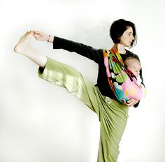 Babywearing and yoga! Maybe very few of us will ever quite reach a solid Extended Hand to Big Toe Pose while babywearing (and most shouldn't make the attempt!) but as far as mindful mom fitspiration goes, I like this!  / Colleen at WrapsodyBaby.com