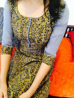 Block print top - with orange sleeve Salwar Neck Designs, Churidar Designs, Kurta Designs Women, Blouse Designs, Salwar Pattern, Kurti Patterns, Indian Attire, Indian Wear, Trendy Kurti
