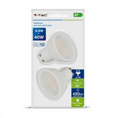 Λαμπτήρας LED σπότ 6.5W GU10  Dimmable  Blister 2 τεμαχίων Ψυχρό Λευκό 6400Κ VT-2108D V-TAC 7308ΠεριγραφήΔιαρκεί 20 φορές περισσότερο από...